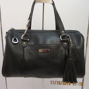Coach Avery soft black pebbled leather satchel
